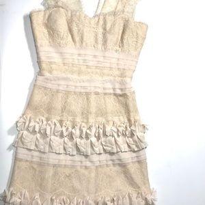 BCBG MaxAzria Tulle & Lace Mini Cocktail Dress
